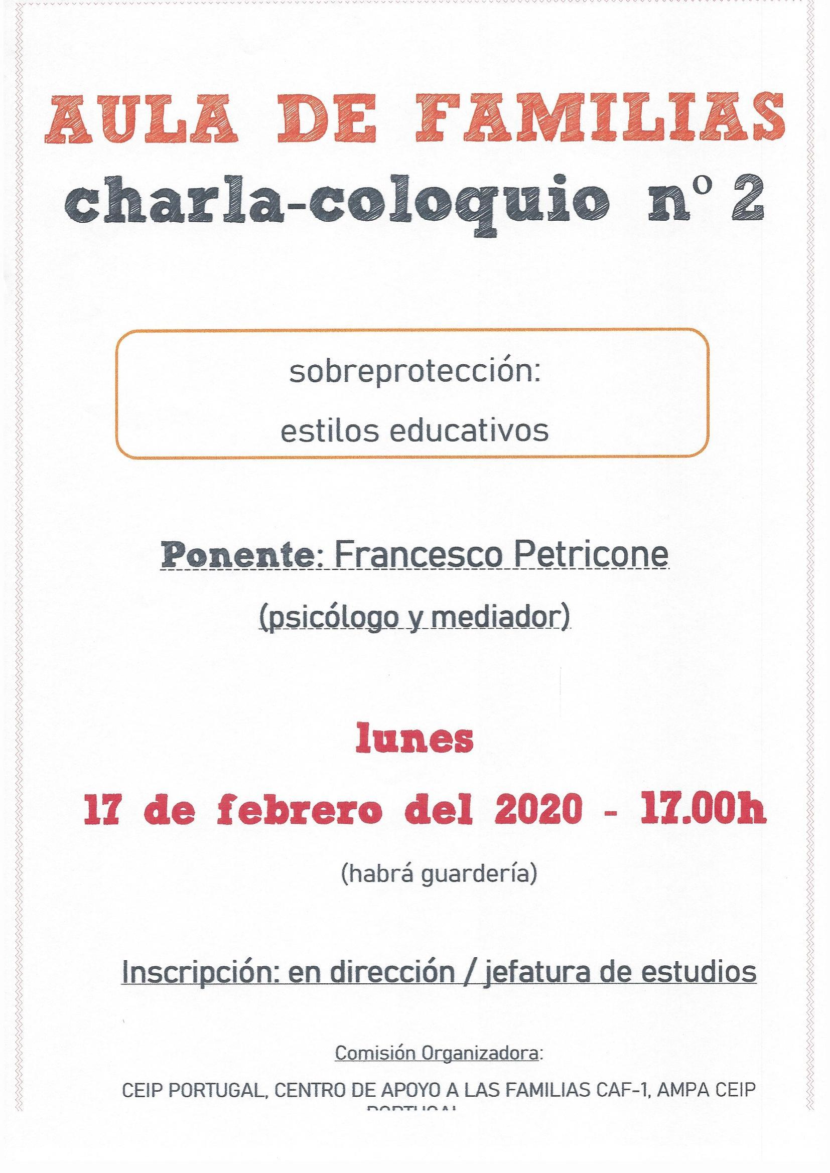 Charla Coloquio: Sobreprotección. Estilos educativos