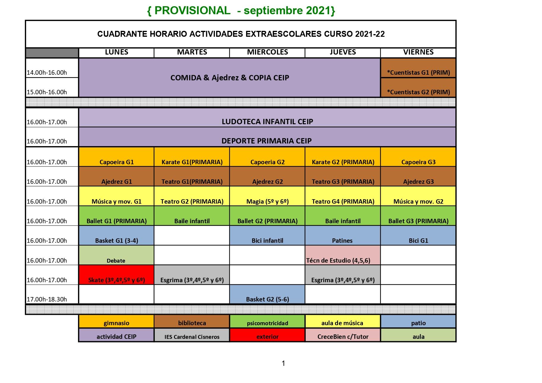 ACTIVIDADES EXTRAESCOLARES DEL AMPA curso 2021-22